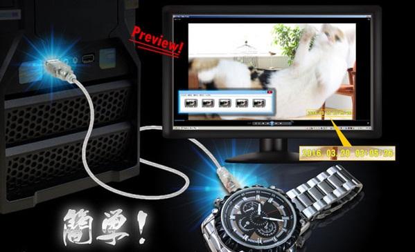 腕時計型隠しカメラデータ転送