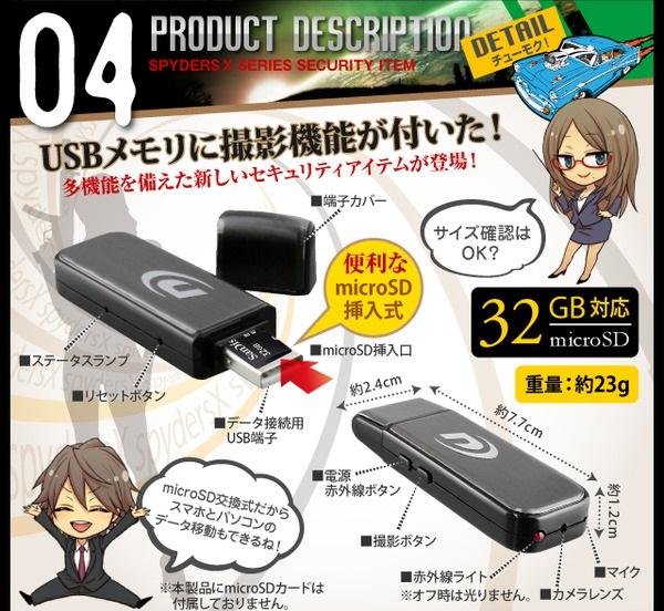 USB型隠しカメラ使い方例